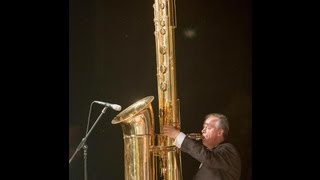 The giant J'Elle Stainer sub-contrabass saxophone